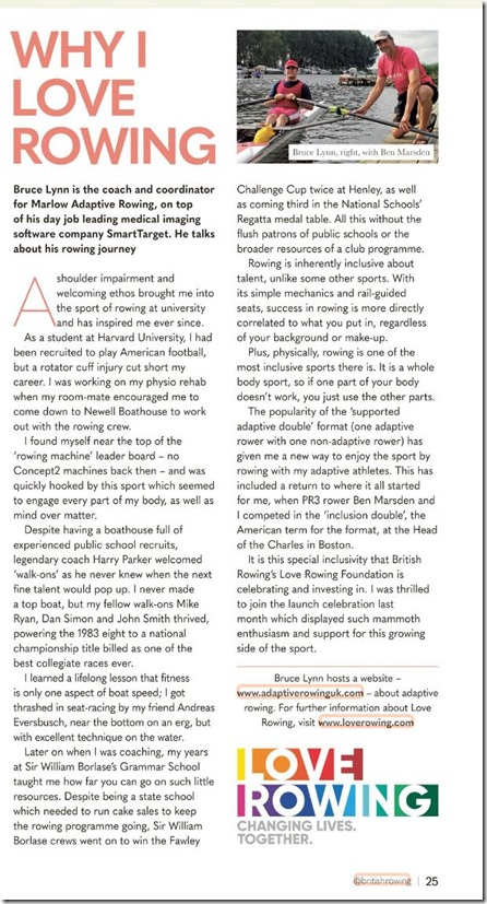 Rowing and Regatta - Bruce Lynn profile